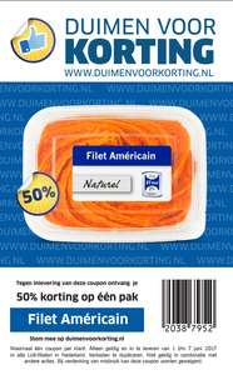 Filet Américain met 50% korting bij Lidl (voucher, nu €0,48/150gr)