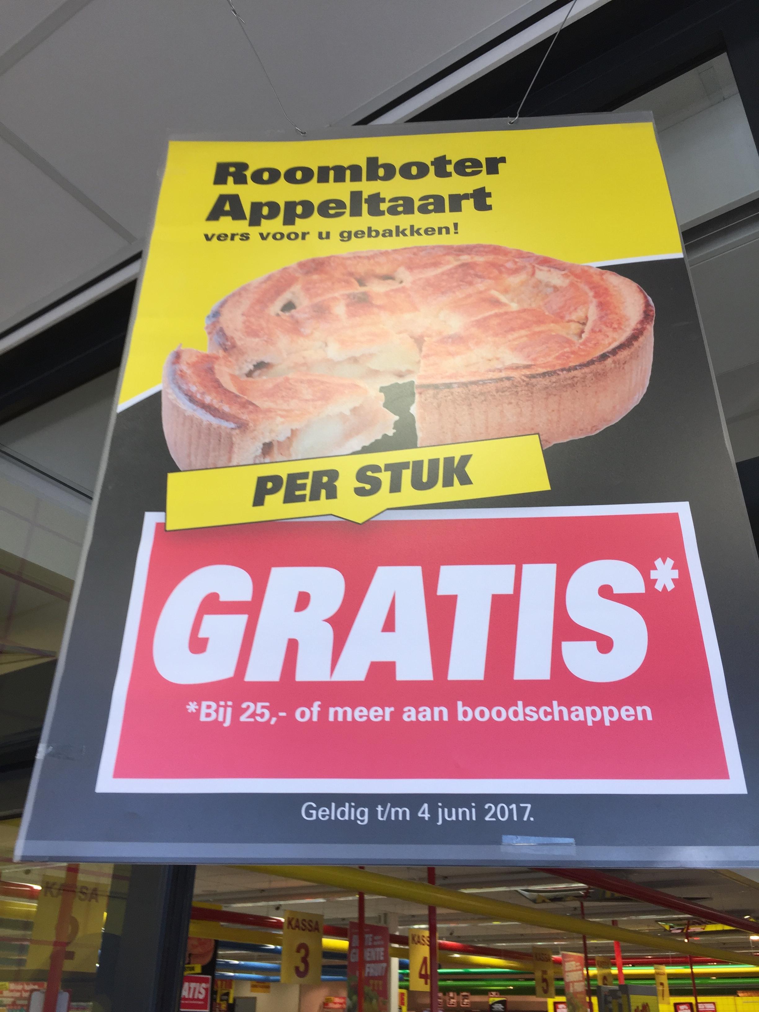 Gratis appeltaart 25 euro boodschappen Nettorama Sittard