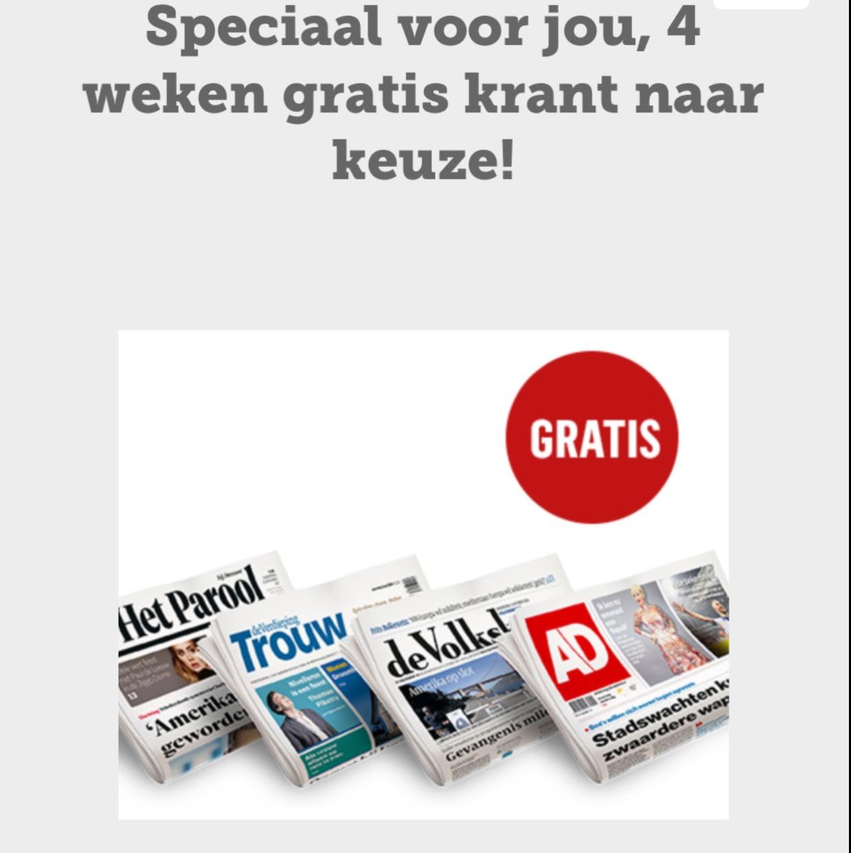 Vier weken gratis de krant naar keuze @ McDonald's