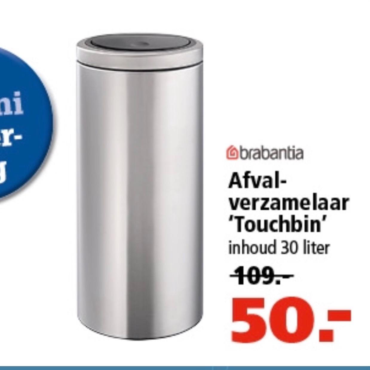 Brabantia Touchbin 30L RVS voor €50 @ Marskramer