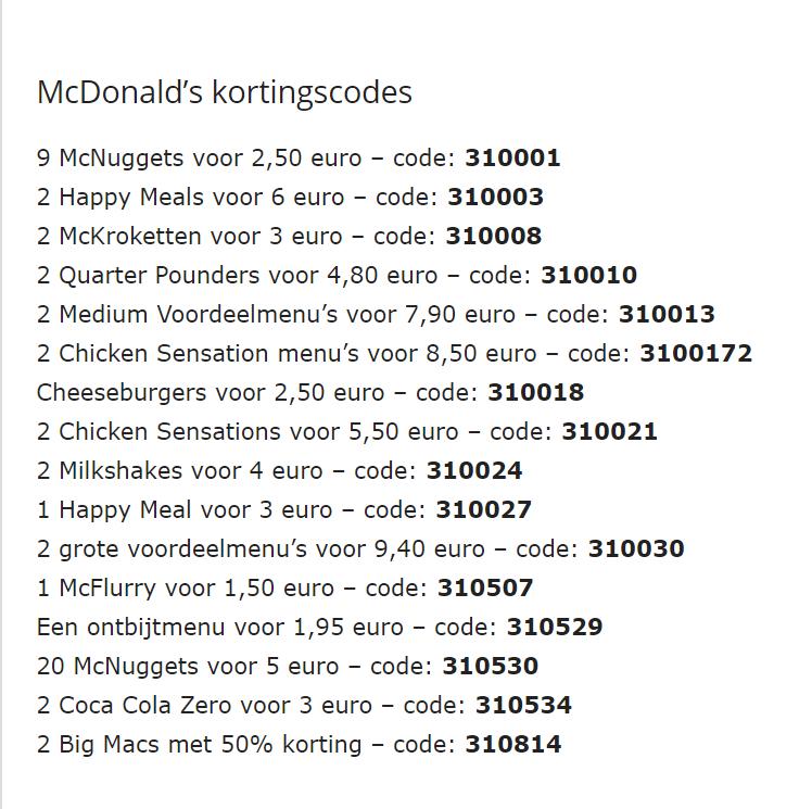 McDonalds kortingscodes