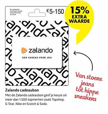 15% extra tegoed op Zalando cadeaukaarten (te combineren met aanbiedingen en kortingscodes)  @ Bruna