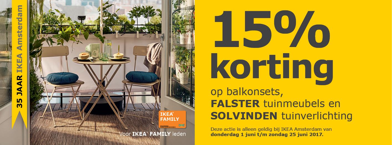 15% Korting op balkonsets, Falster Tuinmeubelen en Solvinden tuinverlichting @ IKEA Amsterdam