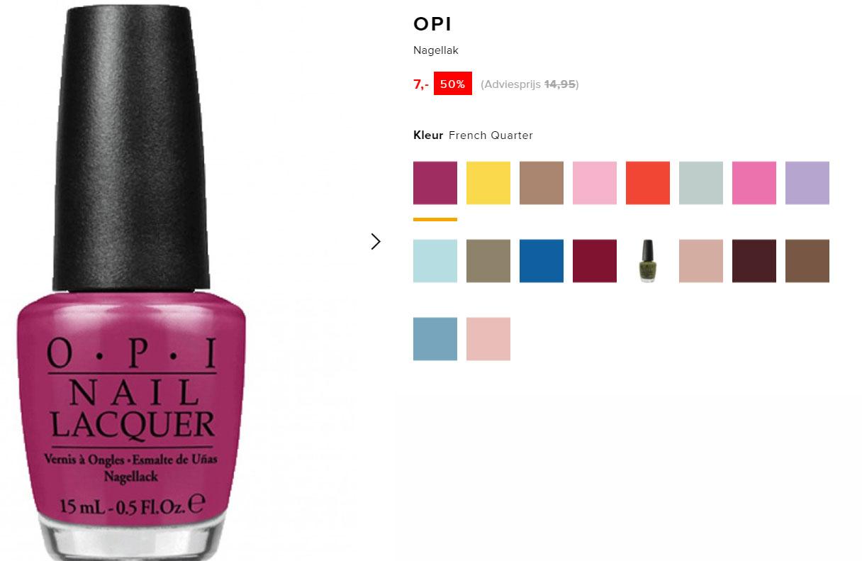 O.P.I. nagellak €7 - 18 kleuren @ De Bijenkorf