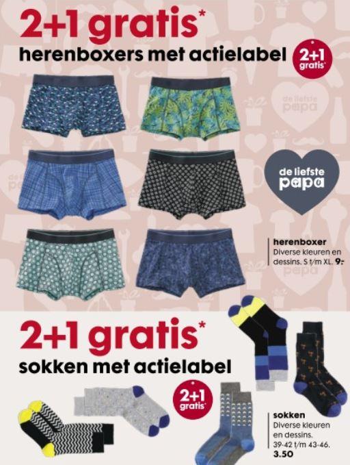 Ondergoed + sokken 2+1 gratis @ HEMA