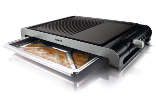 Philips hd4419/20 Dubbele tafelbarbecue van roestvrij staal, geribde & Glad plaat, 2300 watt, zwart