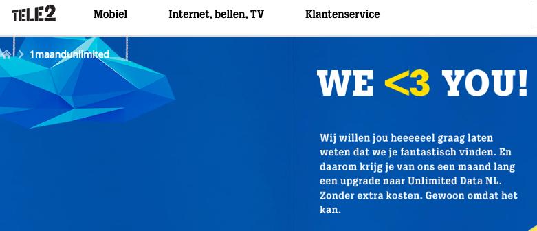 Een maand gratis Unlimited Data Tele2 klanten