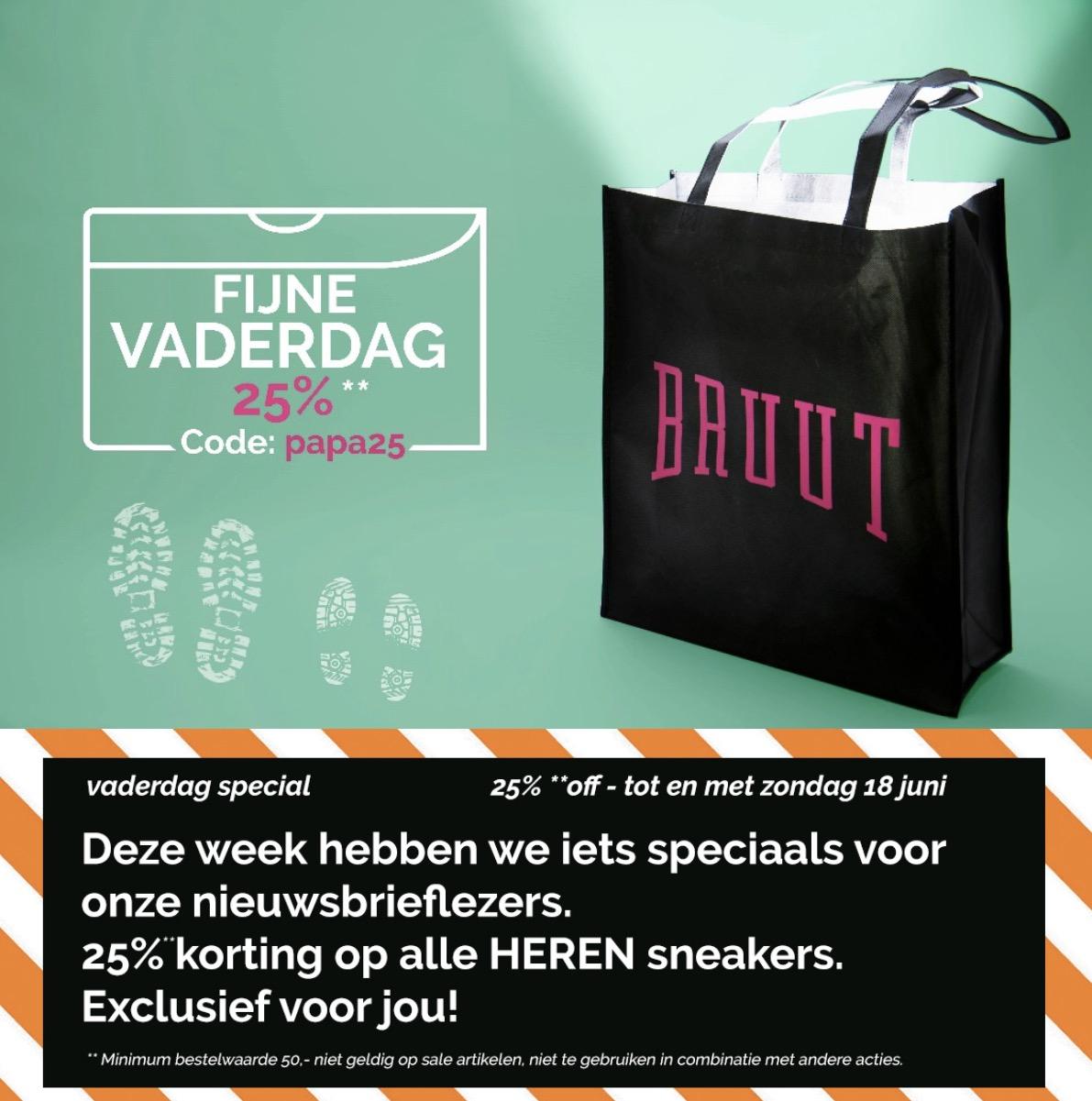 25% Korting op alle Heren sneakers bij Bruut.nl