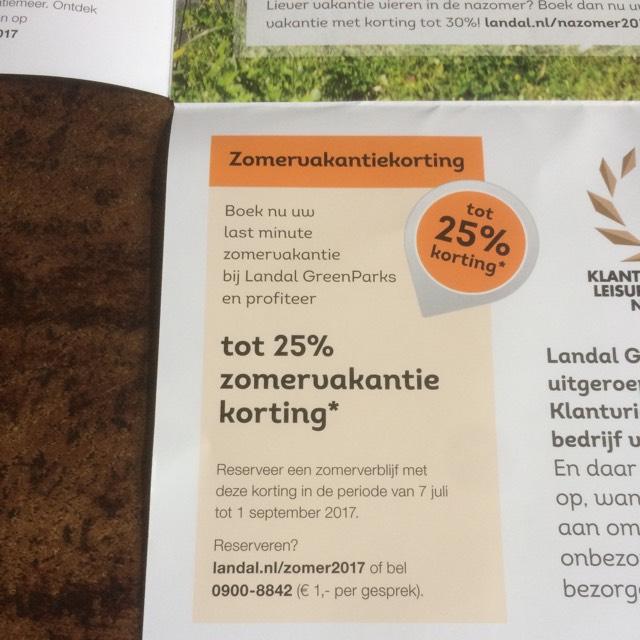 25% zomervakantie korting bij Landal