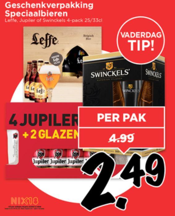 Bier + glas voor 2,49: Jupiler / Leffe / Swinckels @ Vomar