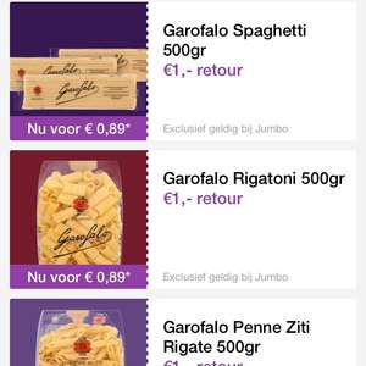 1 euro cashback op Garofalo in Reclamefolder app