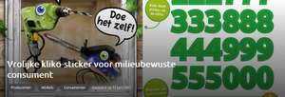 GRATIS Vrolijke kliko-sticker voor milieubewuste consument