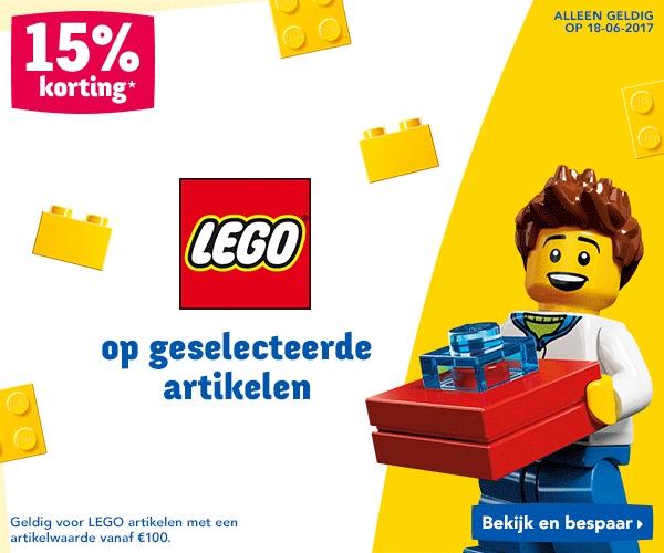 Happy Sunday - 15% op geselecteerde LEGO artikelen vanaf €100 @ Toysurus
