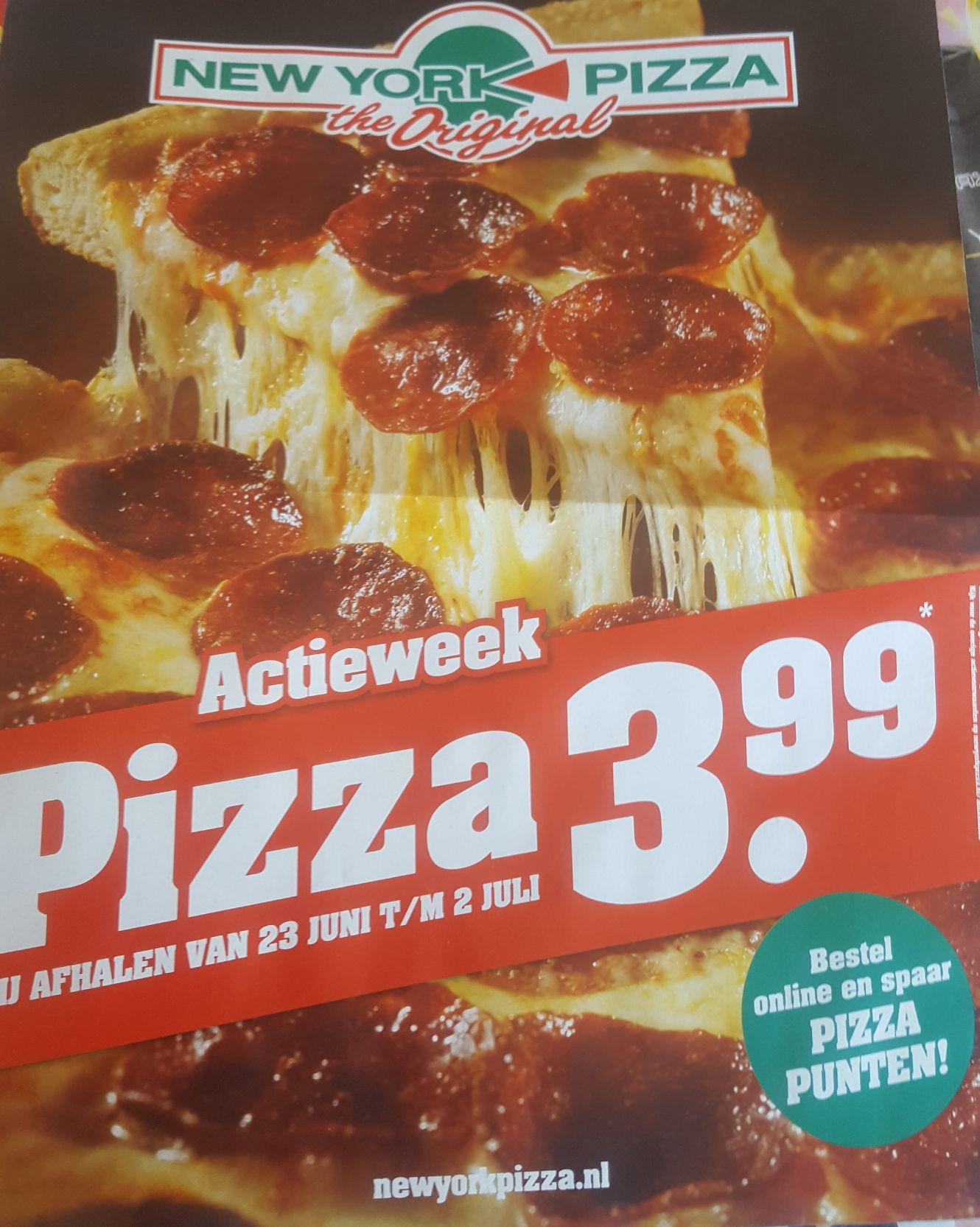 New York Pizza Actie week 3,99 bij afhalen vanaf vrijdag