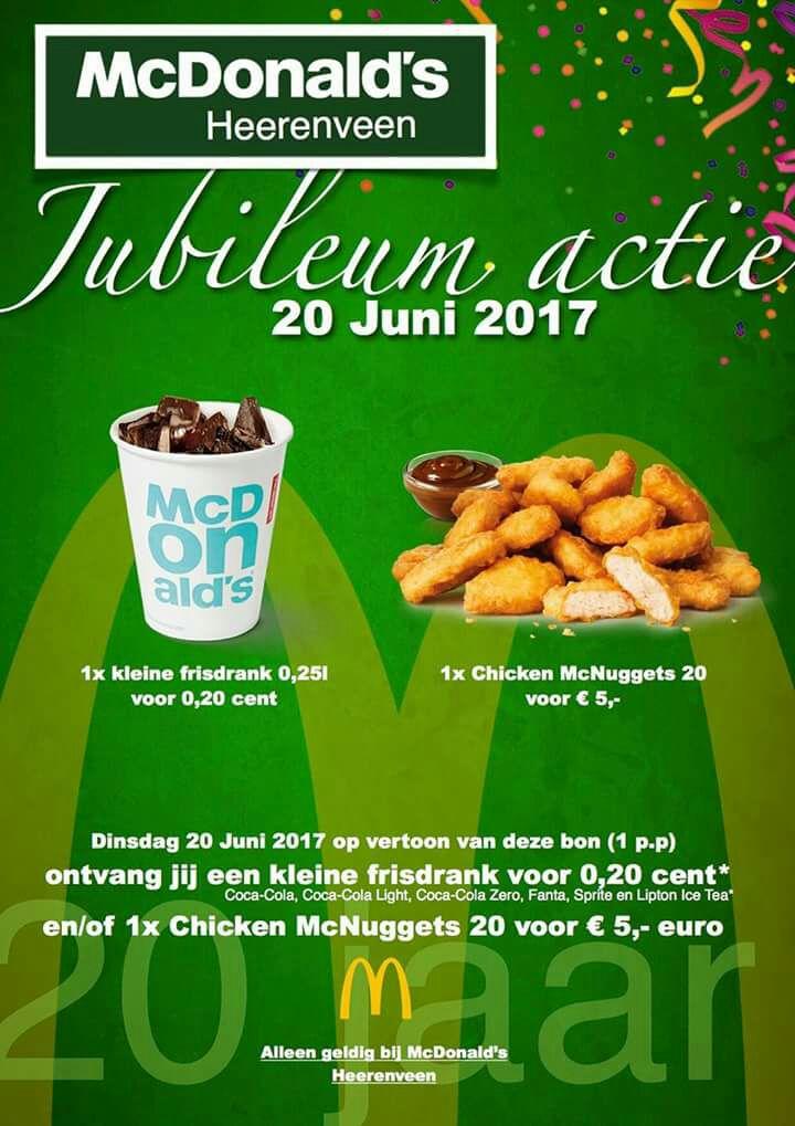 Morgen kleine frisdrank voor €0,20 en/of 20 McNuggets voor €5 @ McDonalds Heerenveen