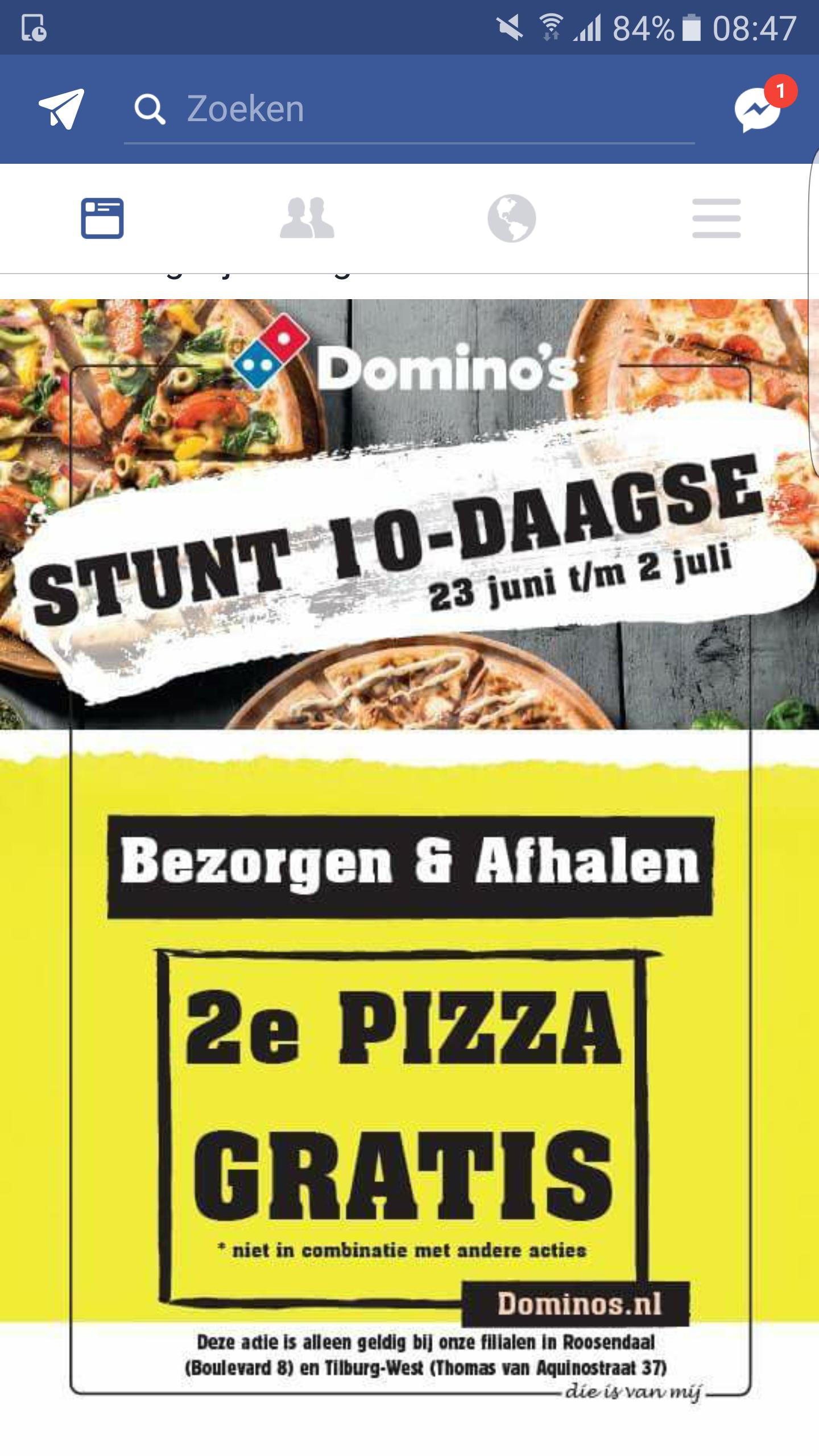 2e pizza gratis Domino's (ook bezorgen!) Tilburg en Roosendaal