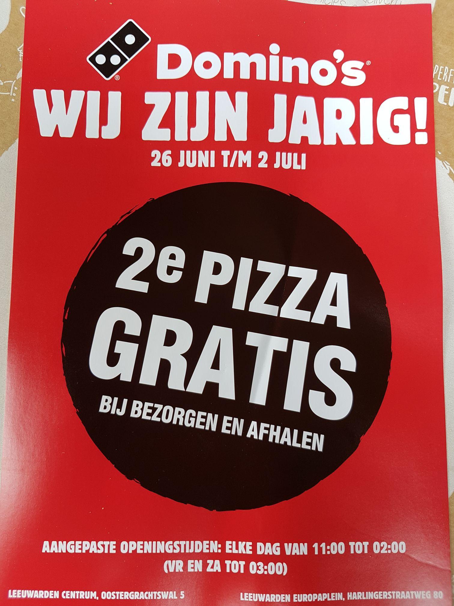 Domino's (Leeuwarden) 26 juni t/m 2 juli de 2e pizza gratis bij bezorgen en afhalen.