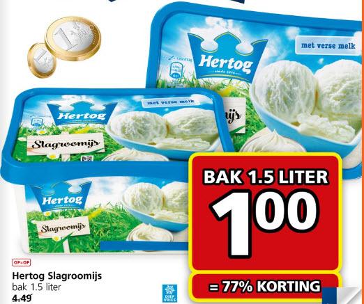Bak 1,5 Liter Hertog Slagroomijs € 1,00  (77% korting) @ Jan Linders