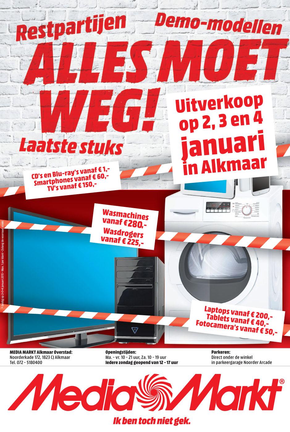 Opruiming restpartijen en demo-modellen @ Media Markt Alkmaar
