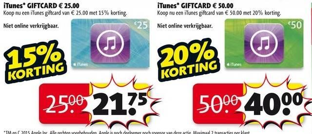 Tot 20% korting op iTunes-kaarten @ Kruidvat