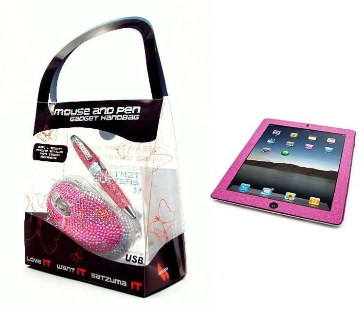 Satzuma USB Diamanten Muis/Pen Gift Pack +  Gratis iPad Glitter Skin Pink sticker door code voor €2,95 @ Paradigit