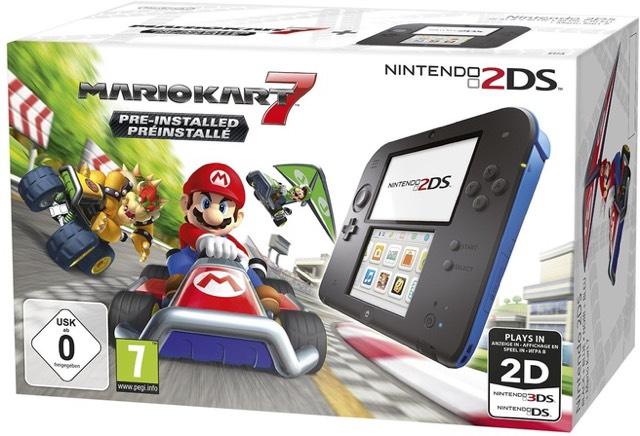 Nintendo 2DS Handheld Console + Mario Kart 7 (zwart + blauw) voor €77 @ Amazon.de