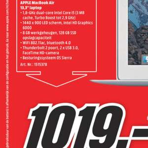 Apple MacBook air 2017 versie met 8gb (ipv 4gb)intern geheugen @ Mediamarkt