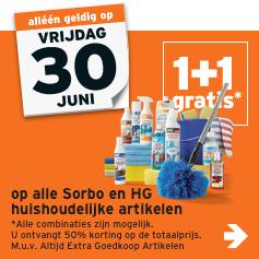 Alle Sorbo & HG artikelen 1+1 gratis bij de Gamma op 30 juni