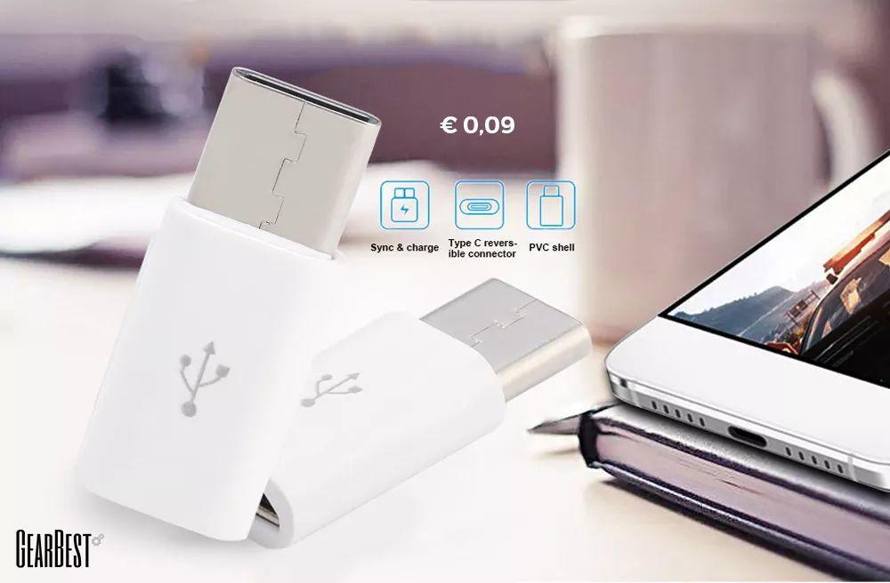 Type-C to Micro Adapter Convert Connector voor €0.09 @ Gearbest