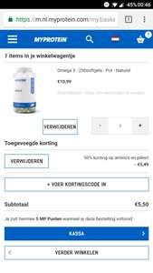 €5,50 voor 250 capsules Omega3 @ Myprotein