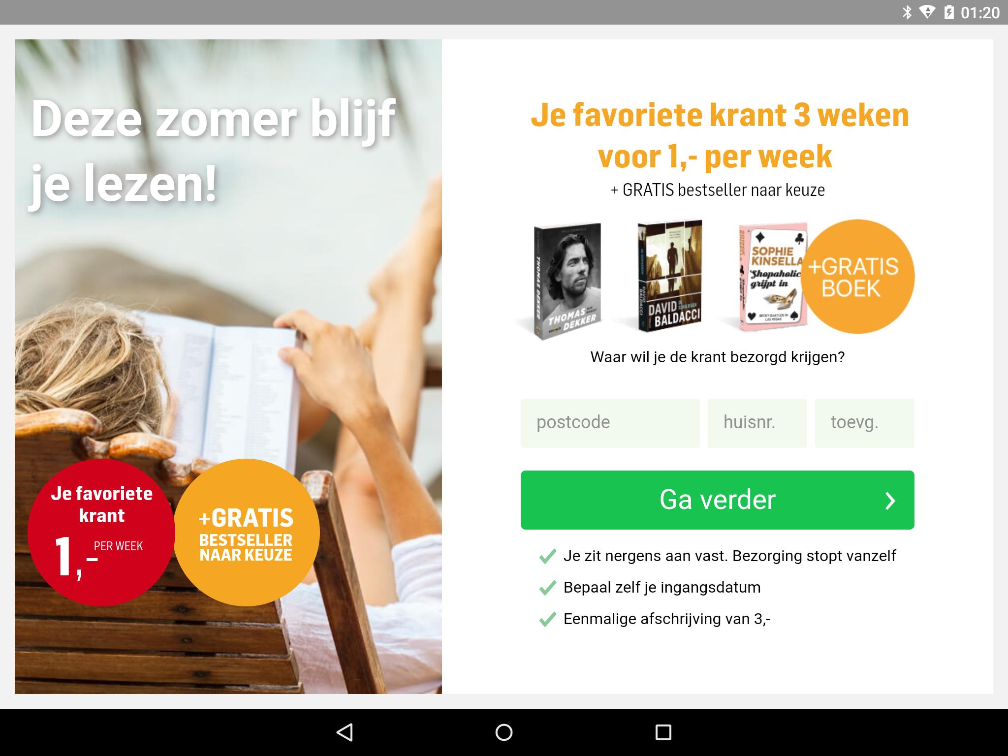 3 weken krant + gratis boek, 3 euro @krant.nl