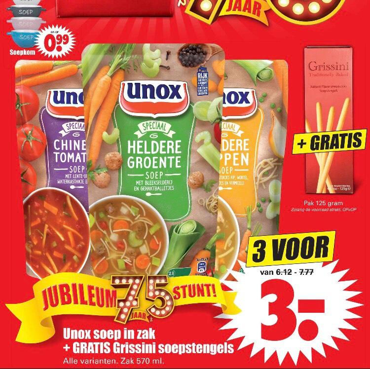 3 zakken Unox soep voor maar 3 euro bij dirk