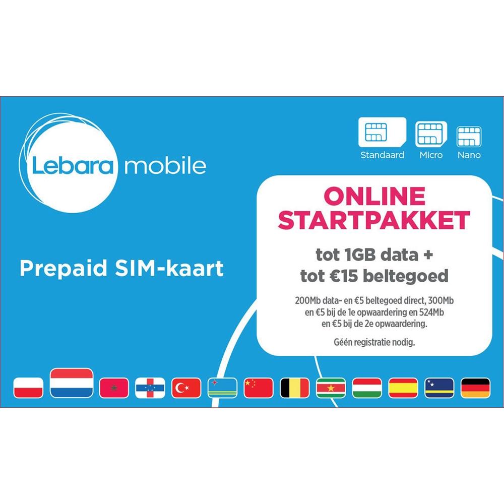 LEBARA prepaid Simpakket @kijkshop.nl