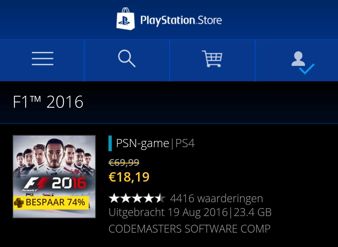 F1 2016 digitale versie €18,19 (Plus leden) @ PSN Store