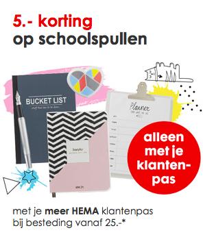€5 korting op schoolspullen bij besteding vanaf €25 @ Hema.nl