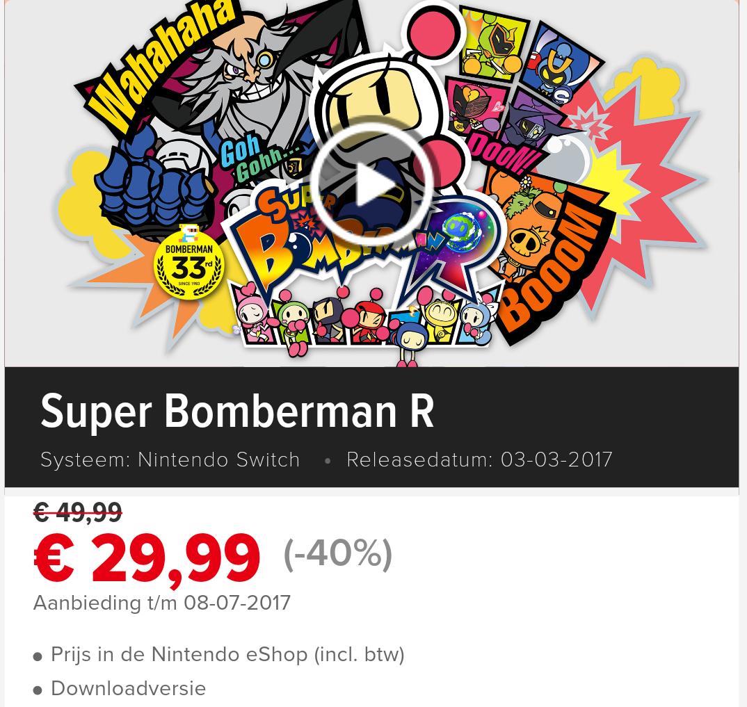 Super Bomberman R voor Nintendo Switch met 40% korting