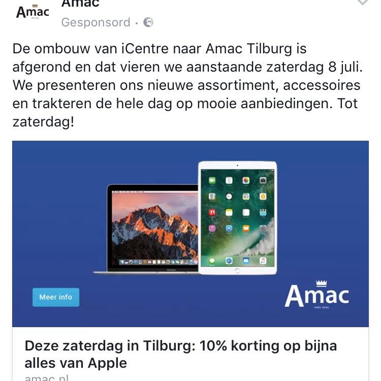 Bij Amac Tilburg, Arnhem, Groningen 10% korting op Apple 8 juli aanstaande! + gratis Belkin screenprotector t.w.v. 15 euro in de winkel.