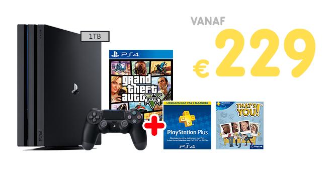Inruilactie PS4 PRO + GTA V + 3 maanden PSPlus vanaf €229 bij inruil PS4 @ Gamemania