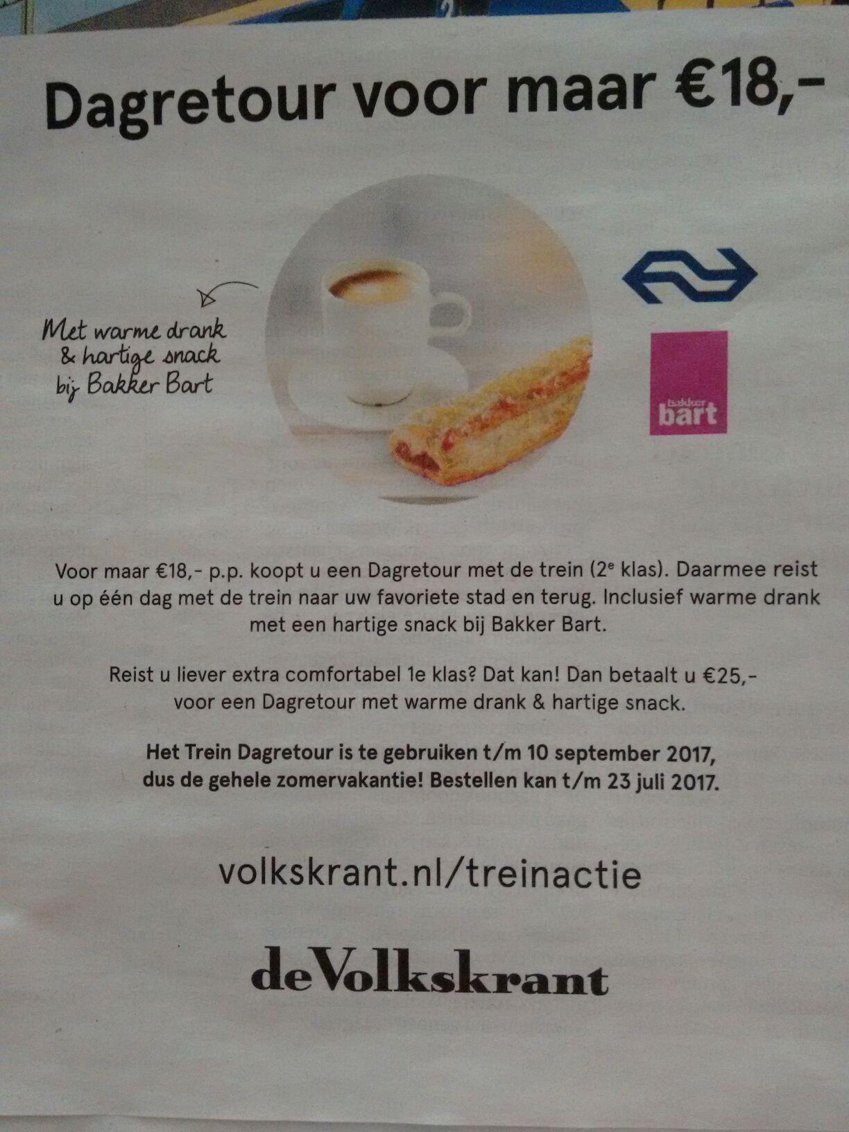 NS Dagretour incl. warme drank en hartige snack €18 @ Spoordeelwinkel