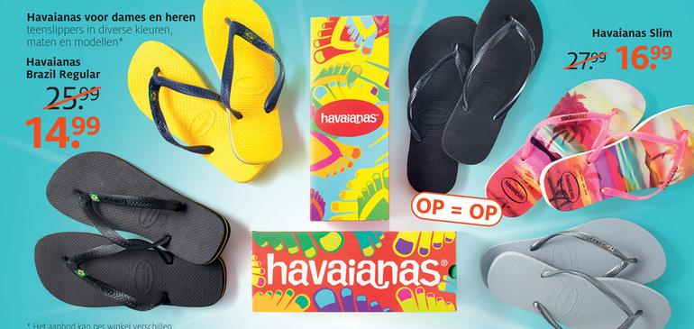 Havaianas dames en heren €14,99 @ Etos