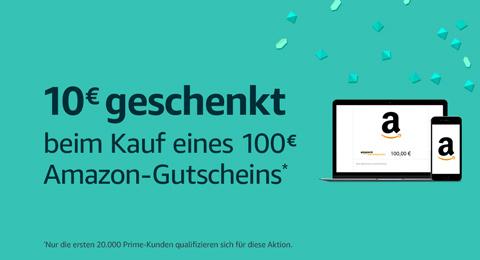 Gratis €10 tegoed bij aankoop van €100 cadeaukaart (Prime Day) @ Amazon.de