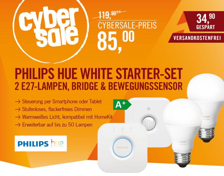Combo-deal Philips Hue White starterpack (2xE27 met bridge 2.0) en Hue motion sensor voor € 92,99 @ Cyberport.de