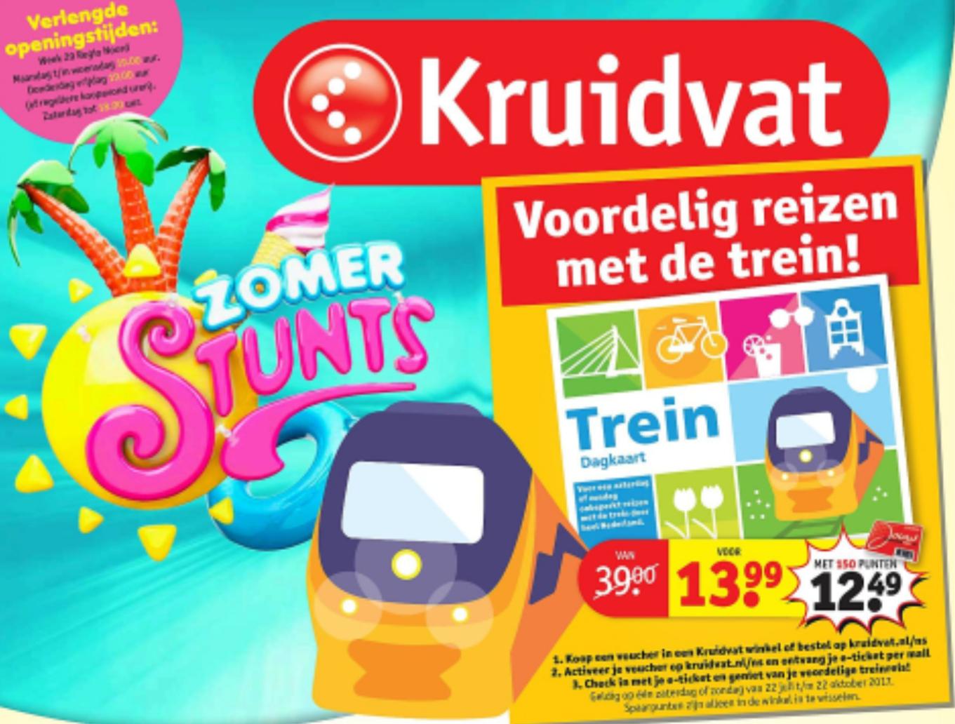 Kruidvat treinkaartje weekend (e-ticket) voor €13,99 of €12,49 met 150 punten @ Kruidvat