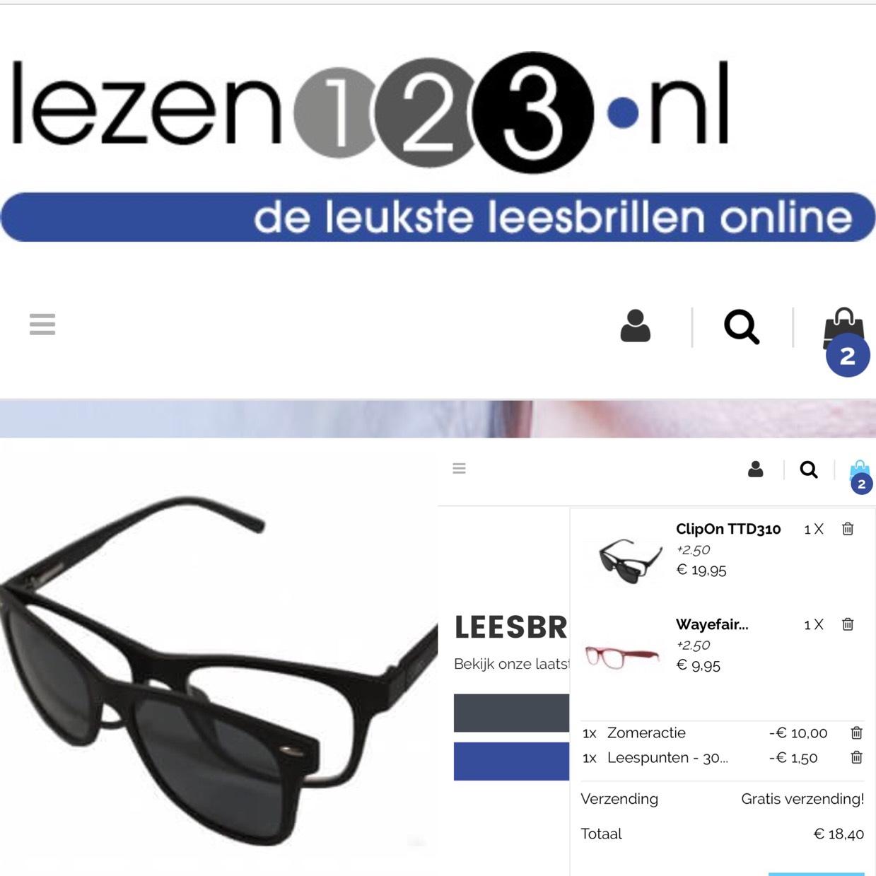 9,95 ClipOn 2in1 (zonne)leesbril @Lezen123