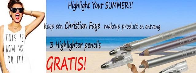 Bransus gratis highlighter pencils bij aankoop van Christian Faye product
