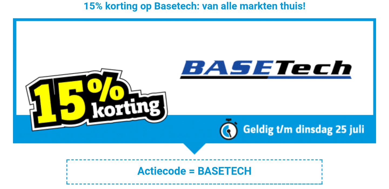 15% korting op het merk Basetech door actiecode @ Conrad