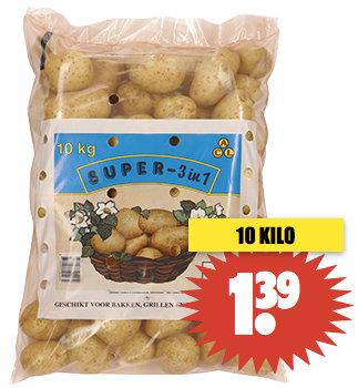 10 kilo aardappelen voor 1,39 bij Dirk!