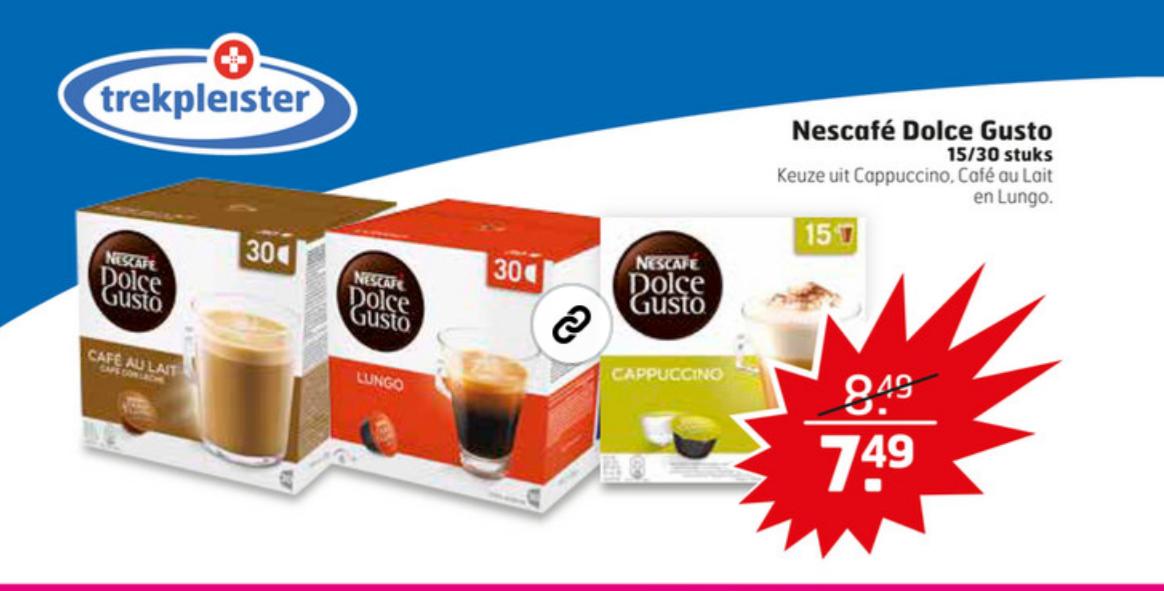 Nescafe Dolce Gusto 30 cups voor €7,49 @ Trekpleister