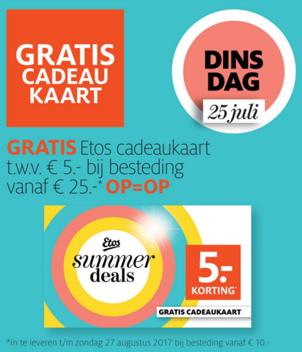Vandaag gratis €5 cadaukaart bij een besteding vanaf €25 @ Etos