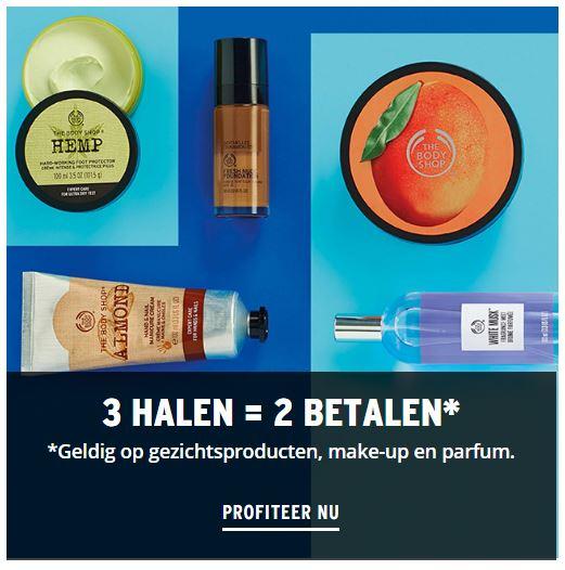 Actie: 3=2 (make-up / parfum / gezicht) + €10 extra (va €30) + gratis bodymist (va €40) @ The Body Shop